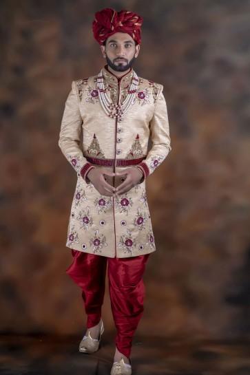 Gorgeous Cream Jacquard Fabric Sherwani