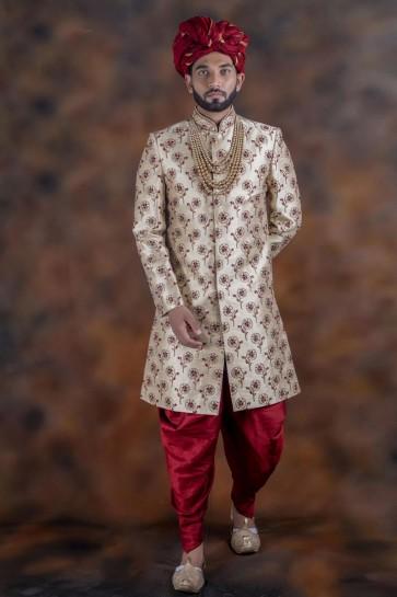 Gorgeous Beige Jacquard Fabric Sherwani