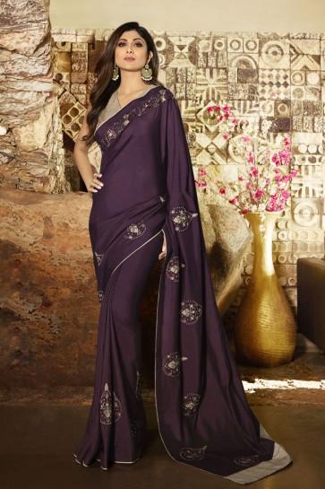 Shilpa Shetty Stunning Violet Silk Fabric Designer Border Work Saree And Blouse