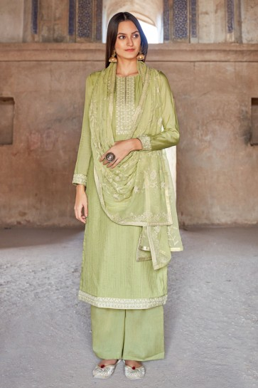 Embroidered Pista Muslin And Viscose Fabric Plazzo Suit Cotton Dupatta