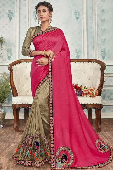 Stunning Pink And Beige Chanderi Silk Fabric Designer Embroidered Saree And Blouse