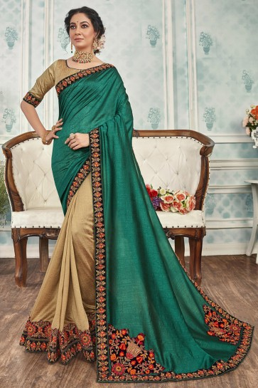 Chanderi Silk Fabric Green And Golden Embroidered Designer Saree And Blouse