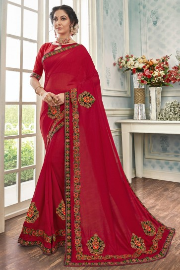 Red Chanderi Silk Fabric Embroidered Designer Saree And Blouse