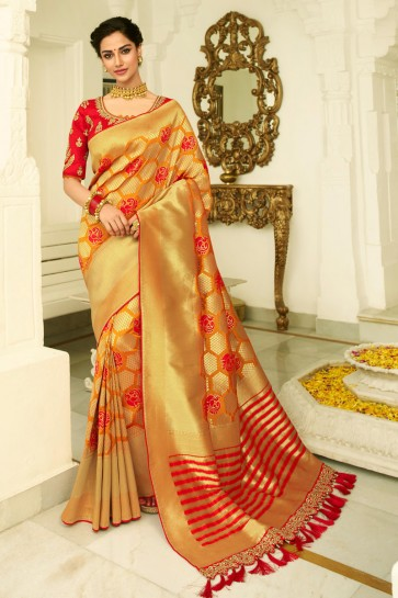 Multicolor Banarasi Silk Fabric Weaving Work And Embroidered Designer Saree And Blouse