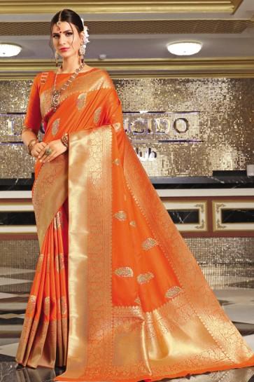 Stunning Orange Banarasi Silk Fabric Designer Weaving Work And Jaquard Work Saree And Blouse
