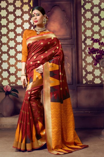 Weaving Work Coffee Cotton Fabric Saree And Blouse