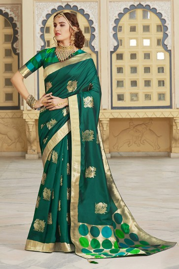 Silk Fabric Embroidered And Weaving Work Designer Green Lovely Saree And Blouse