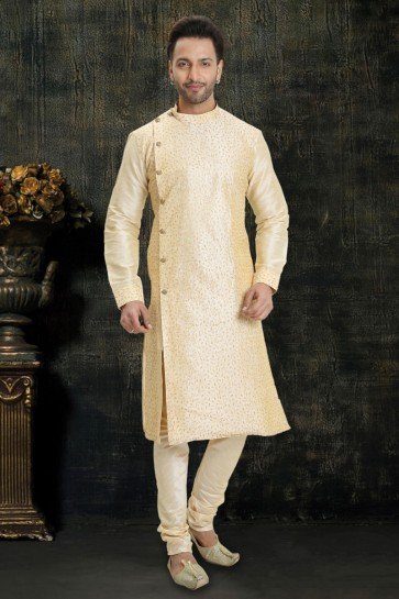 Golden Dupion Fabric Resham Embroidery Work Kurta Payjama