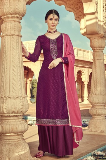 Viscose Wine Embroidered Plazzo Suit With Santoon Dupatta