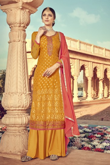 Designer Mustard Embroidered Viscose Plazzo Suit And Santoon Dupatta
