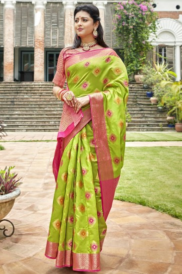 Stunning Light Green Art Silk Fabric Designer Weaving Work And Jacquard Work Saree And Blouse