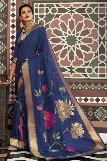 Navy Blue Silk Fabric Weaving Work And Jacquard Work Designer Saree And Blouse