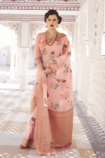 Baby Pink Karyon Linen Fabric Weaving Work Designer Saree And Blouse