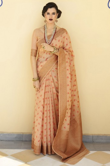 Karyon Linen Fabric Weaving Work Designer Peach Lovely Saree And Blouse