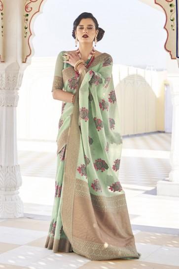 Stunning Pista Karyon Linen Fabric Weaving Work Saree And Blouse