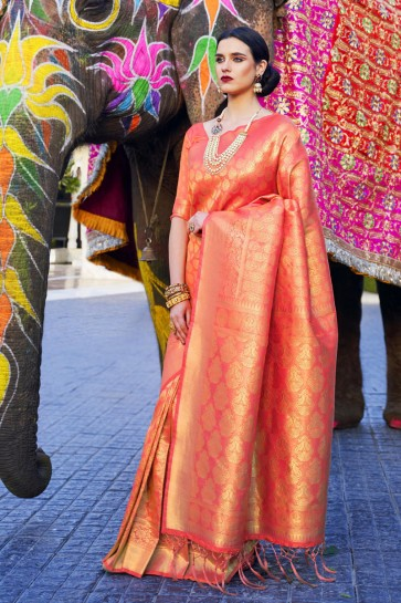 Optimum Jacquard Work And Weaving Work Peach Silk Fabric Designer Saree And Blouse