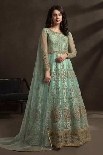 Net Designer Sky Blue Embroidered And Stone Work Anarkali Suit With Dupatta
