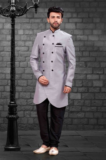 Classic Grey Silk Indo Western With Dhupion Silk Bottom