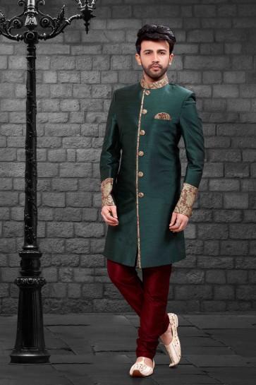 Pretty Green Silk Indo Western With Dhupion Silk Bottom