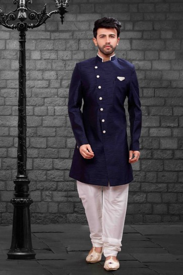 Stylish Navy Blue Silk Indo Western With Dhupion Silk Bottom