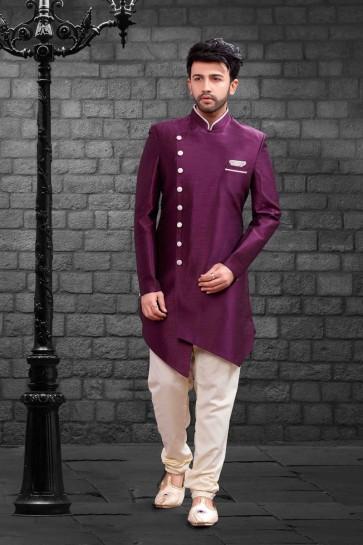 Purple Silk Indo Western With Dhupion Silk Bottom