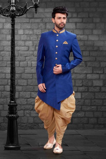 Blue Silk Indo Western With Dhupion Silk Bottom