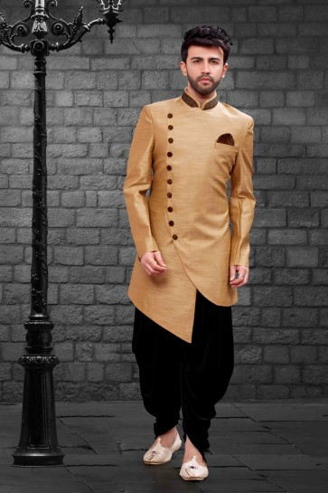Classic Beige Silk Indo Western With Velvet Bottom