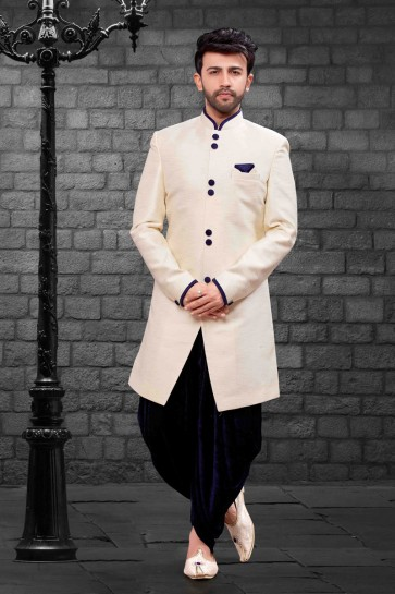 Excellent Cream Silk Indo Western With Velvet Bottom