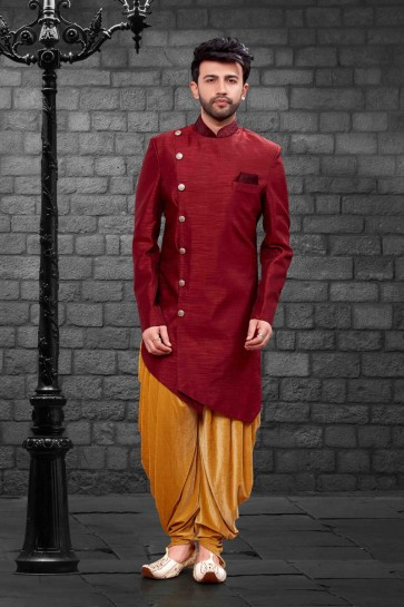Beautiful Maroon Silk Indo Western With Velvet Bottom