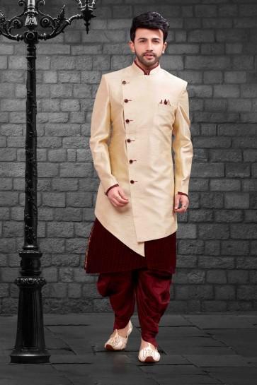Supreme Cream Silk Indo Western With Dhupion Silk Bottom