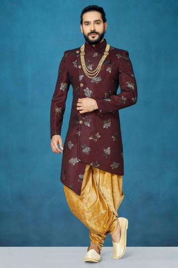 Crepe Fabric Maroon Thread Work Designer Indo Western