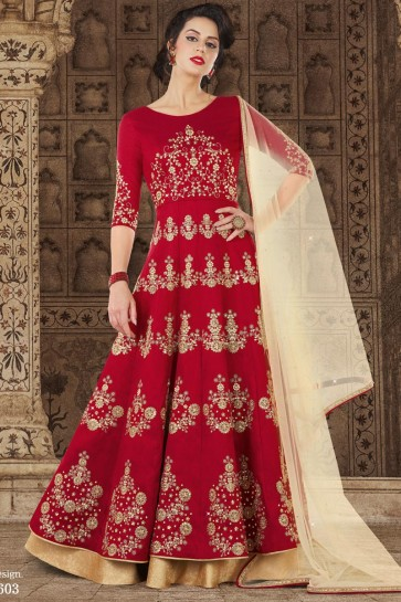 Embroidered Red Silk Anarkali Salwar Suit With Net Dupatta