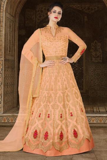 Embroidered Peach Net Anarkali Salwar Kameez With Net Dupatta