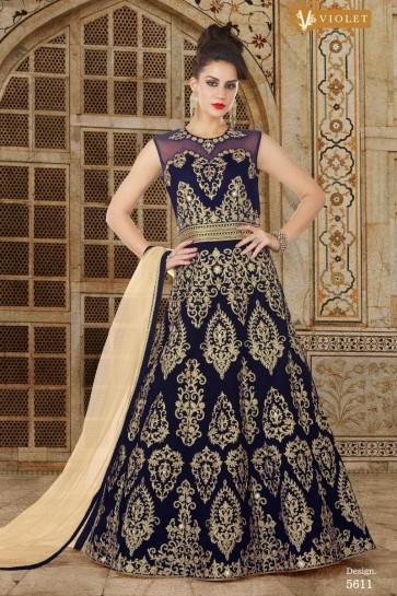 Navy Blue Velvet Designer Anarkali Salwar Kameez With Net Dupatta