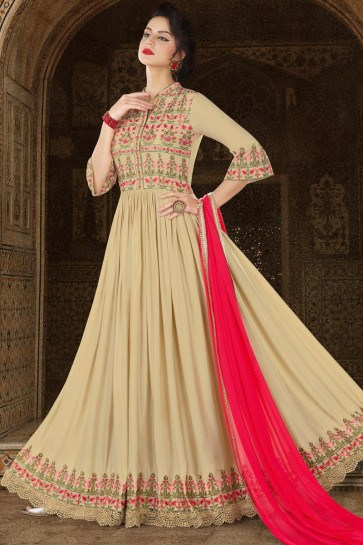 Beige Satin Embroidered Anarkali Salwar Suit With Chiffon Dupatta