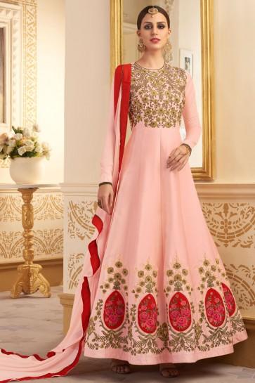 Pink Silk Embroidered Salwar Kameez With Nazmin Dupatta