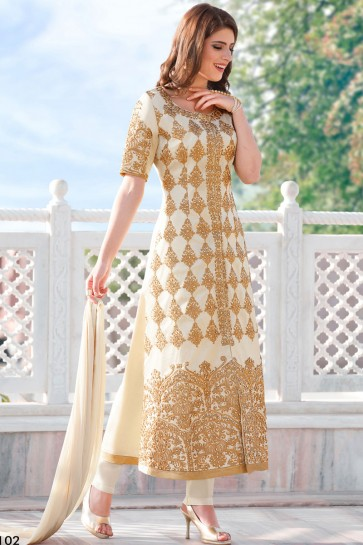 Off White Cotton Anarkali Salwar Kameez  Suit With Nazmin Dupatta