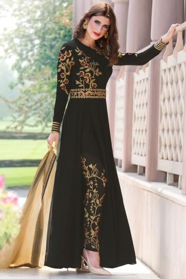 Excellent Black Georgette Embroidered Salwar Kameez With Nazmin Dupatta