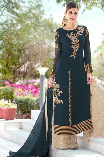 Teal Georgette Embroidered Salwar Suit With Nazmin Dupatta