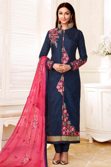 Saumya Tandon Embroidered Navy Blue Bhagalpuri Long Length Salwar Suit With Chiffon Dupatta
