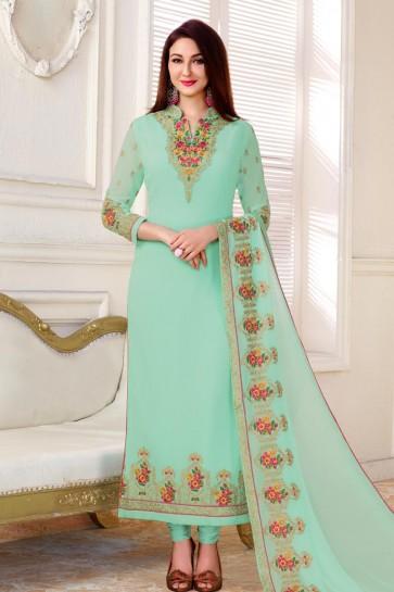 Saumya Tandon Stylish Turquoise Georgette Embroidered Salwar Kameez With Chiffon Dupatta
