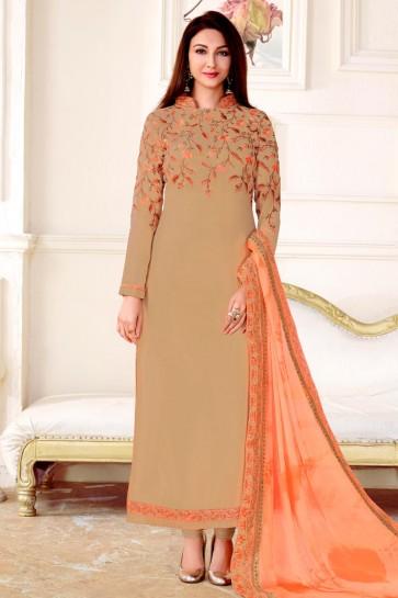 Saumya Tandon Lovely Beige Georgette Long Length Designer Salwar Suit With Chiffon Dupatta
