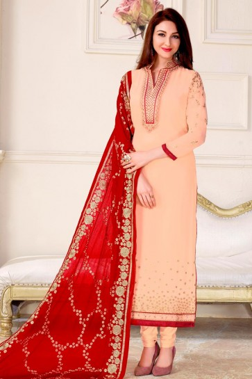 Saumya Tandon Peach Embroidered Long Length Salwar Suit With Chiffon Dupatta