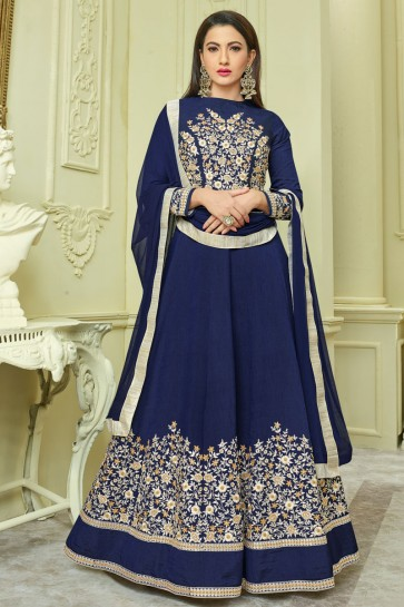 Gauhar Khan Navy Blue Silk Anarkali Salwar Kameez With Nazmin Dupatta