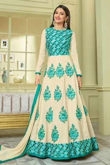 Gauhar Khan Turquoise and Off White Silk Embroidered Anarkali Salwar Suit With Nazmin Dupatta