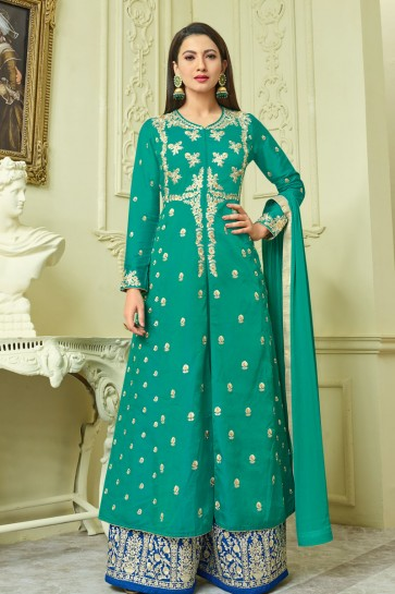 Gauhar Khan Beautiful Green Long Length Embroidered Plazo Salwar Kameez