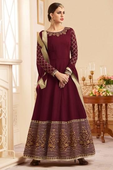 Ultimate Maroon Silk Embroidered Anarkali Salwar Suit With Nazmin Dupatta