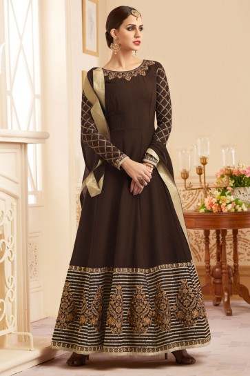Brown Silk Anarkali Salwar Suit With Nazmin Dupatta