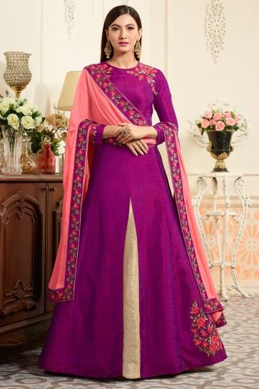 Gauhar Khan Supreme Magenta Banarasi Silk Anarkali Salwar Kameez