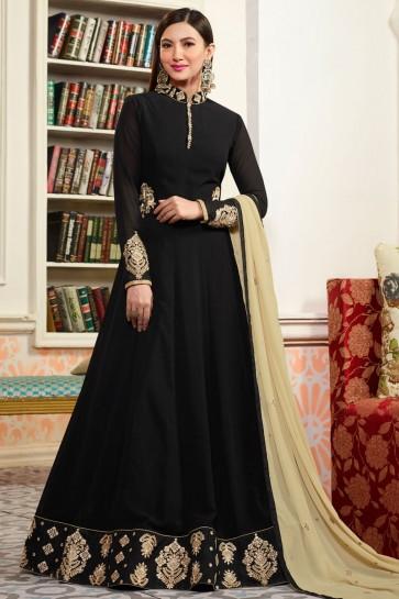 Gauhar Khan Black Faux Georgette Anarkali Salwar Suit With Net and Nazmin Dupatta